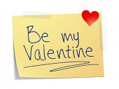A sticky paper with the message be my Valentine