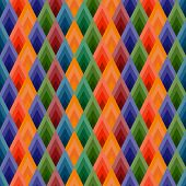 Vector background seamless of rhombuses. Vibrant ethnic shades.