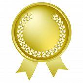 Gold Laurel Wreath medallion