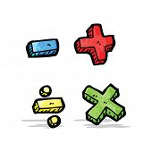 image of subtraction  - cartoon math symbols - JPG