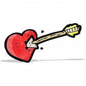 cartoon arrow struck heart