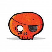 cartoon skull with pirate eye patch