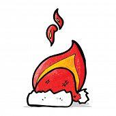 cartoon burning xmas hat