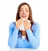 picture of snot  - Young woman having flu or allergy - JPG
