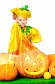 Pretty little girl in a costume of pumpkin posing with pumpkins. Halloween.