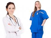 The image of an emergency woman doctor in the blue suit