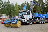 Volvo FMX 420 Truck Equipped With Snowek Rotary Broom