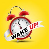 Red alarm clock concept - Wake Up