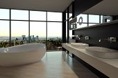 3d Rendering of Elegant Architectural Bathroom Design with an Overlooking Outside View from Transparent Glass Windows