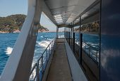 Costa Brava Coastline Astern Cruising Trimaran, Catalonia, Spain.