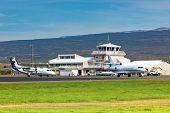Small Local Airport In Egilsstadir, Northern Iceland