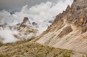 Italy Dolomites - barren rocks in the clouds