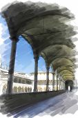 art watercolor background isolated on white basis with european antique town, Italy, Florence. Arcade of patio