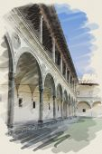 art watercolor background on paper texture with european antique town, Italy, Florence. Arcade of patio