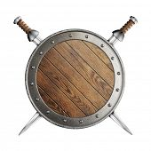 medieval old wooden vikings' or gladiator's shield with crossed swords isolated on white
