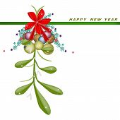 New Year Card with Mistletoe with A Red Bow