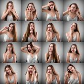 Collage of woman with different facial expressions.