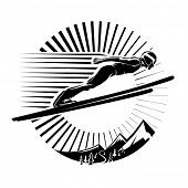 Ski jumping. Vector illustration in the engraving style