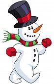 Cheerful snowman walking