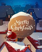 Santa on the roof. Christmas card \ poster \ banner. Vector illustration.