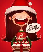 Child's greetings. Christmas card \ poster \ banner. Vector illustration.