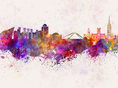 Coventry Skyline In Watercolor Background