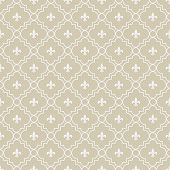 Beige And White Fleur-de-lis Pattern Textured Fabric Background