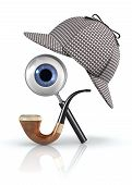stock photo of sherlock holmes  - 3D illustration with retro detective equipment over white background - JPG