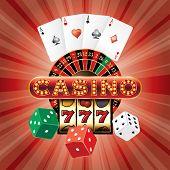pic of poker machine  - vector gambling casino elements on red burst background - JPG