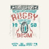 College Team Rugby Retro Emblem And Design Elements