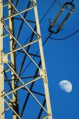 electric pillar, line and the blue sky
