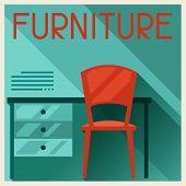 Interior illustration with furniture in retro style.