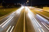 Short Light Trails On A Highway