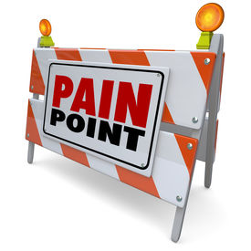 picture of unsafe  - Pain Point words on road construction barrier or sign to illustrate a customer problem - JPG