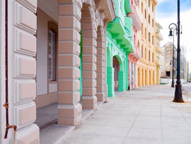 stock photo of malecon  - Colorful buildings along the Malecon avenue in Havana - JPG