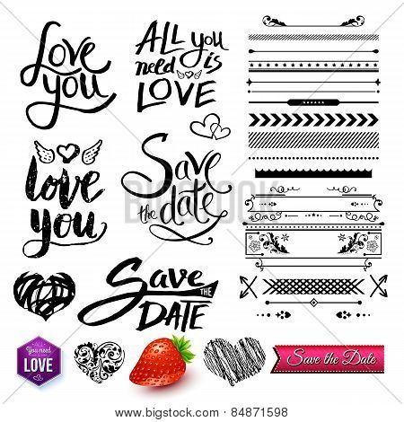 Set Of Love Texts Borders And Symbols On White Poster Id84871598