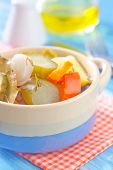 stock photo of pickled vegetables  - pickled vegetables in a bowl on the kitchen table - JPG