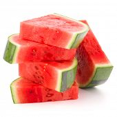 stock photo of watermelon slices  - Sliced ripe watermelon isolated on white background cutout - JPG