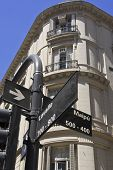 stock photo of intersection  - Intersection of Maipu and Lavalle streets in Buenos Aires Argentina - JPG