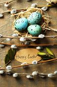 foto of pussy-willows  - Bird eggs in nest and pussy willow flowers branches on wooden background - JPG
