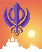 pic of sikh  - an illustration of the holy sikh symbol in purple with white gurdwara architecture on a sunset background - JPG