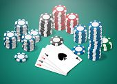 stock photo of ace spades  - a scene of poker game with poker aces and chips on green table - JPG