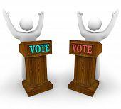 Dos candidatos en podios - voto
