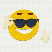 picture of cheater  - Felt illustration of an emoticon wearing sunglasses - JPG