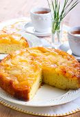picture of upside  - Apple upside down sponge cake selective focus - JPG