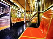 stock photo of railroad car  - New York subway car interior with open door - JPG