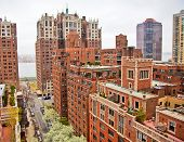 picture of brownstone  - Traditional red brick apartments in Manhattan New York - JPG