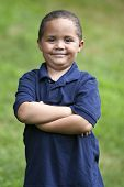 stock photo of dimples  - Happy latino boy close - JPG
