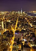 picture of empire state building  - Aerial view of lower Manhattan at night taken from the Empire State Building - JPG