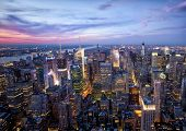 pic of empire state building  - New York sunset skyline taken from the Empire State Building  - JPG